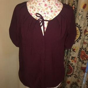 Ann Taylor Factory Keyhole Button Up Tie Front Top